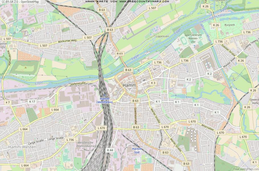 Hamm Karte.Karte Von Hamm Deutschland Breiten Und Längengrad Kostenlose