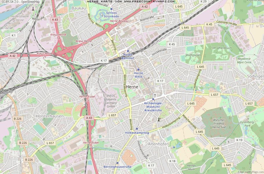 Herne Karte.Karte Von Herne Deutschland Breiten Und Längengrad Kostenlose