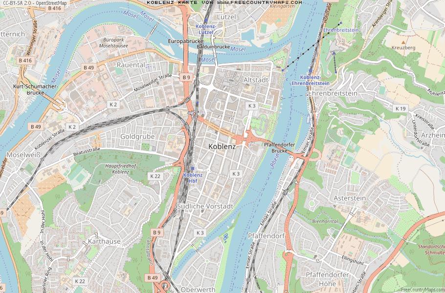 Karte Koblenz.Karte Von Koblenz Deutschland Breiten Und Längengrad