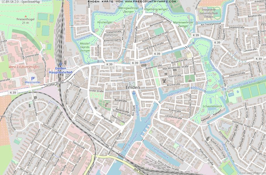 Emden Karte.Karte Von Emden Deutschland Breiten Und Langengrad