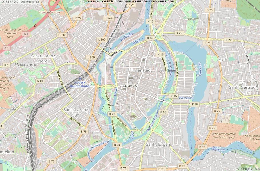 Karte Lübeck.Karte Von Lübeck Deutschland Breiten Und Längengrad Kostenlose