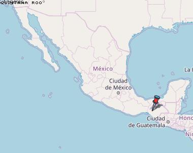 Karte von Quintana Roo :: Mexiko Breiten- und Längengrad ... on