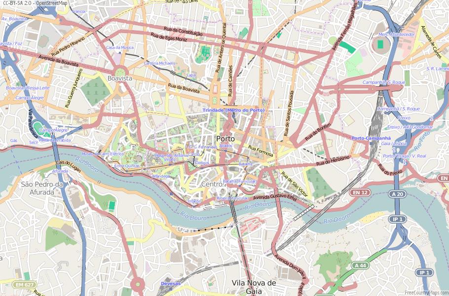 Porto Portugal Karte.Karte Von Porto Portugal Breiten Und Langengrad