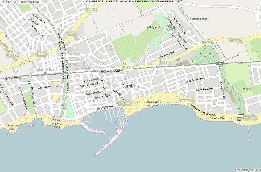 Karte Von.Karte Von Cambrils Spanien Breiten Und Längengrad Kostenlose