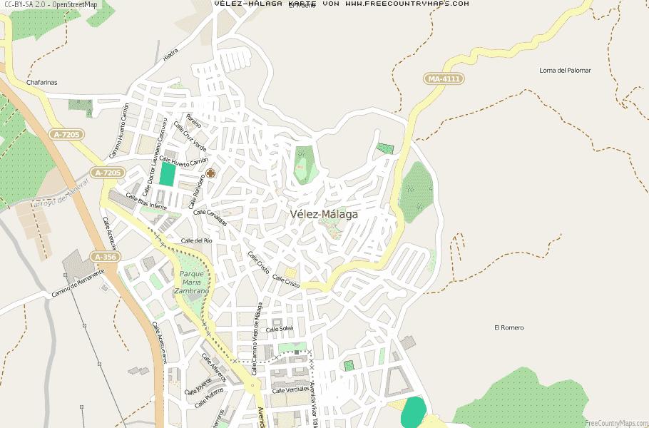 Malaga Karte Spanien.Karte Von Velez Malaga Spanien Breiten Und Langengrad
