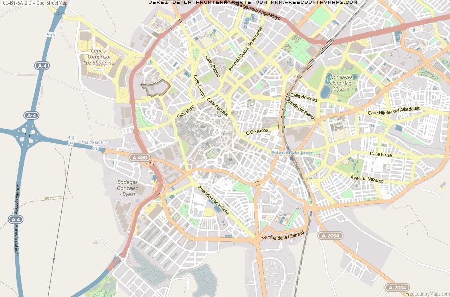 Jerez De La Frontera Karte.Karte Von Jerez De La Frontera Spanien Breiten Und Längengrad