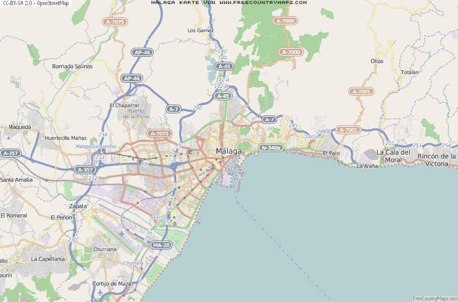 Malaga Karte Spanien.Karte Von Malaga Spanien Breiten Und Langengrad