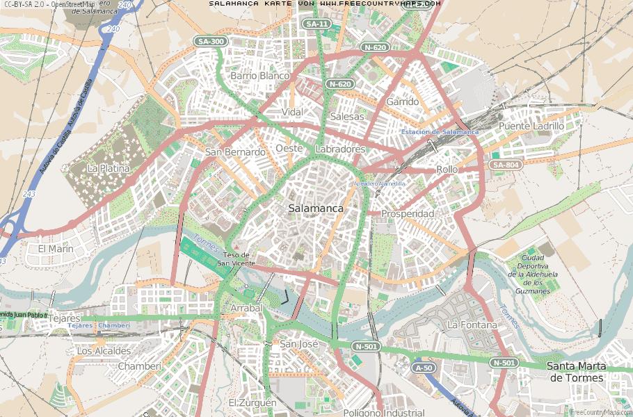 Salamanca Spanien Karte.Karte Von Salamanca Spanien Breiten Und Längengrad Kostenlose