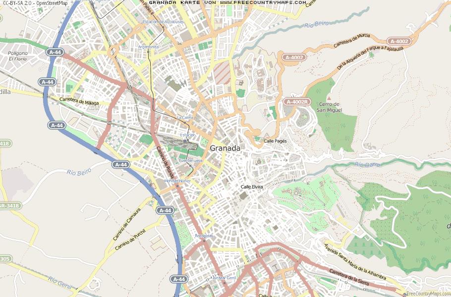 Granada Karte.Karte Von Granada Spanien Breiten Und Längengrad Kostenlose