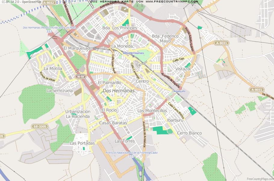 Karte von Dos Hermanas :: Spanien Breiten- und Längengrad ... on