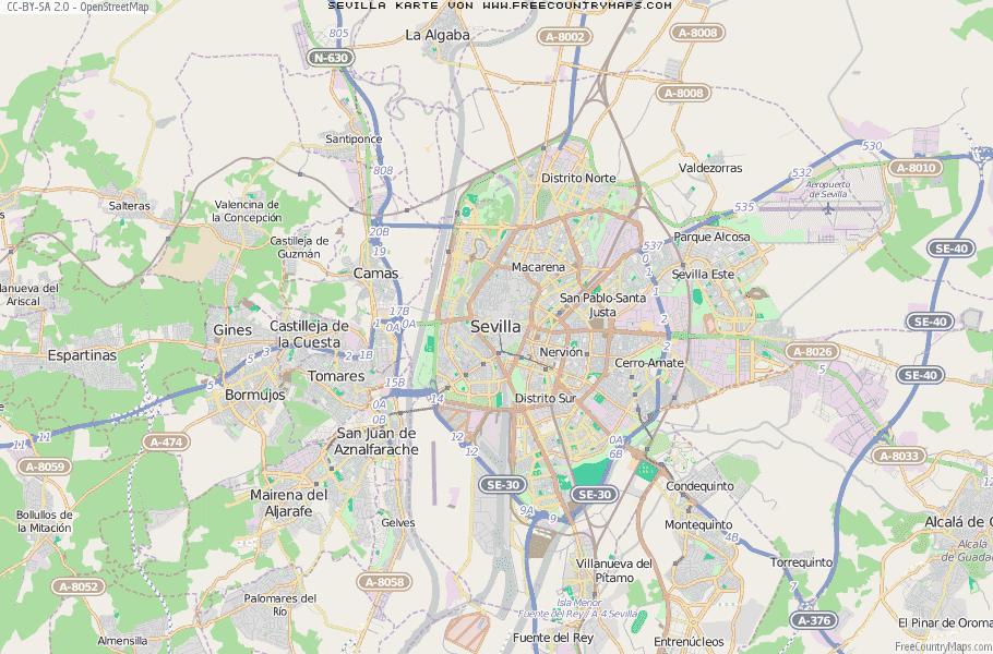 Karte von Sevilla :: Spanien Breiten- und Längengrad ...