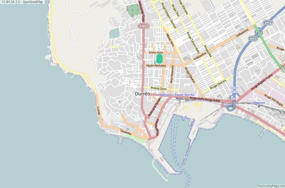 Durrs Map Albania Latitude Longitude Free Albania Maps