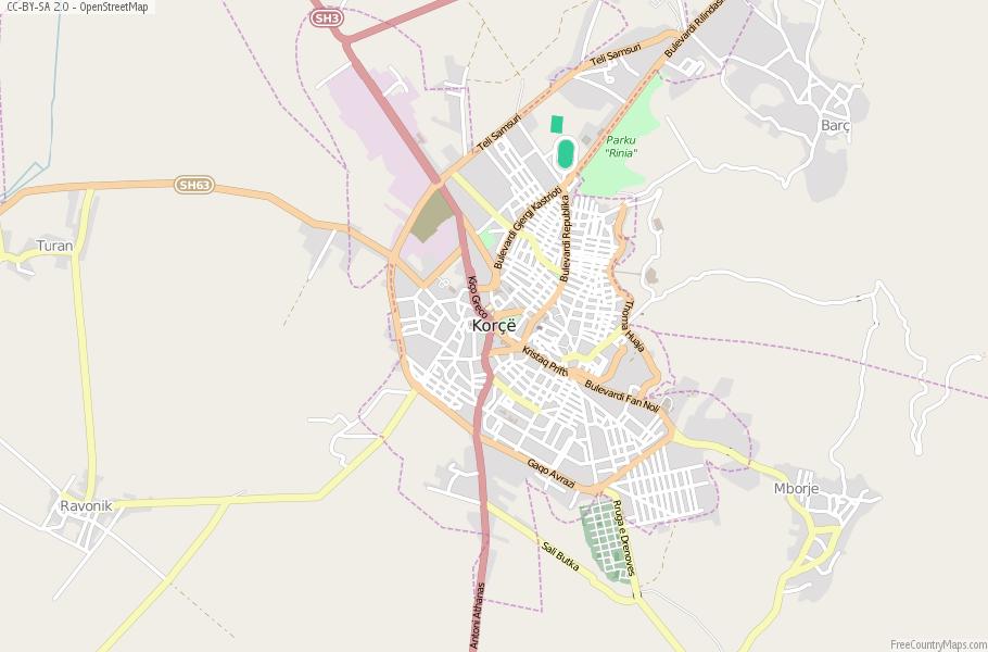 Kor Map Albania Latitude Longitude Free Albania Maps