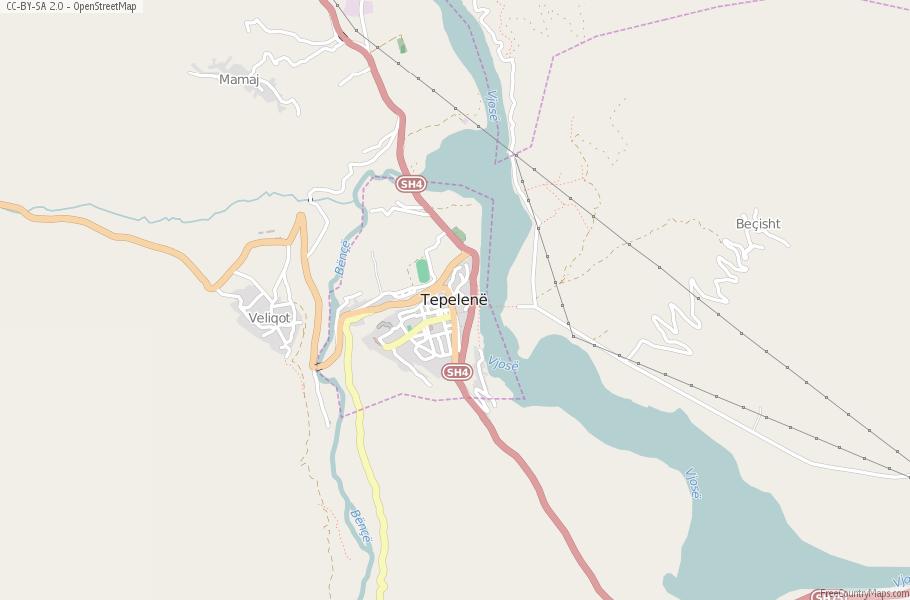 Tepelen Map Albania Latitude Longitude Free Albania Maps