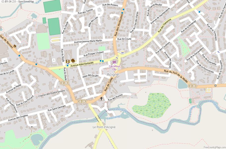 Acigné France Map