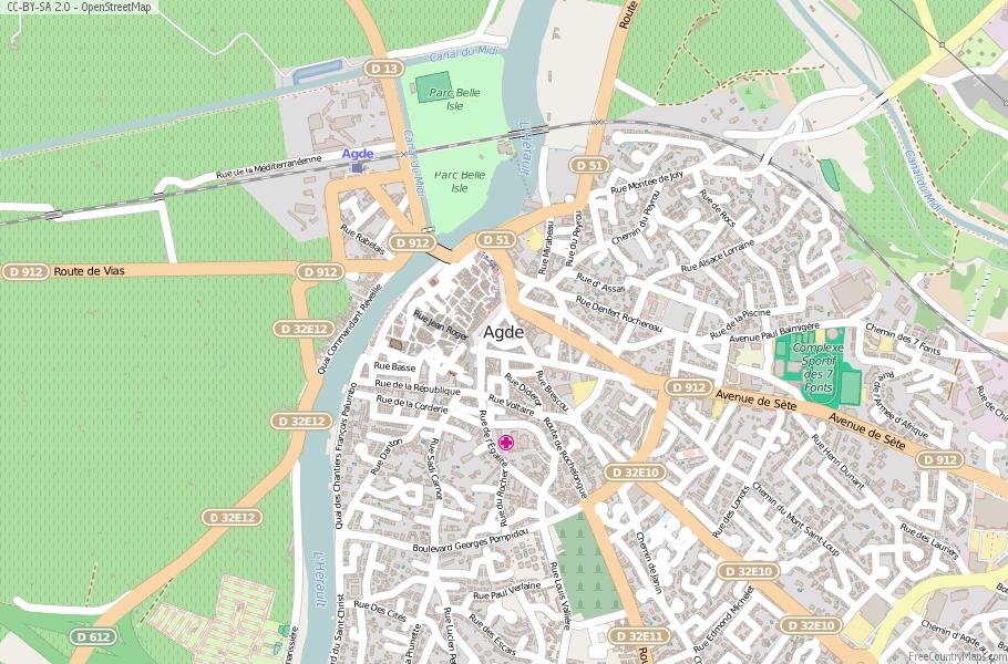 Agde Map France Latitude Longitude Free France Maps