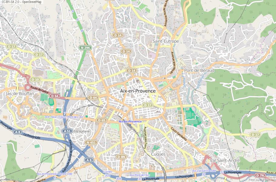 AixenProvence Map France Latitude Longitude Free Maps