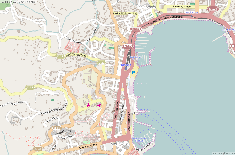 Ajaccio France Map