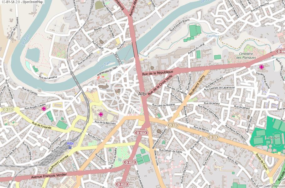 Downloadable Road Map Of France.Albi Map France Latitude Longitude Free Maps