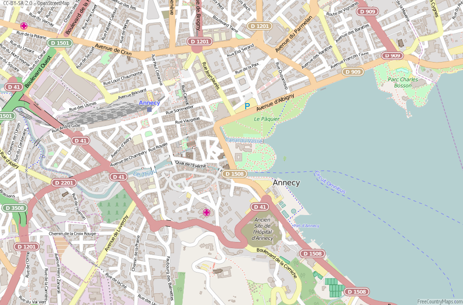 Annecy Map France Latitude Longitude Free France Maps