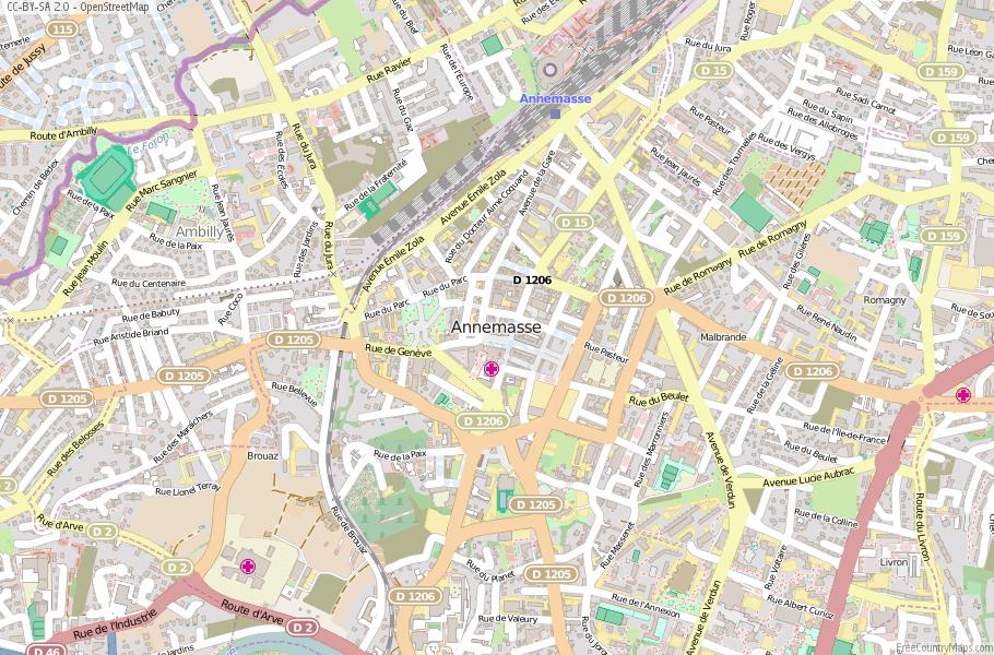 Annemasse Map France Latitude Longitude Free France Maps