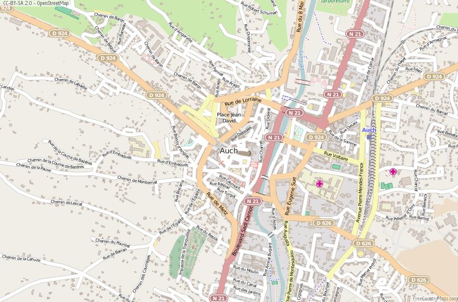 Auch Map France Latitude Longitude Free France Maps
