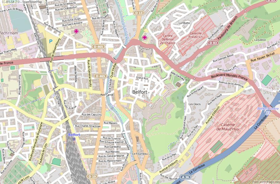 Belfort Map France Latitude Longitude Free France Maps