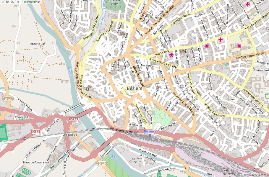 Bziers Map France Latitude Longitude Free France Maps
