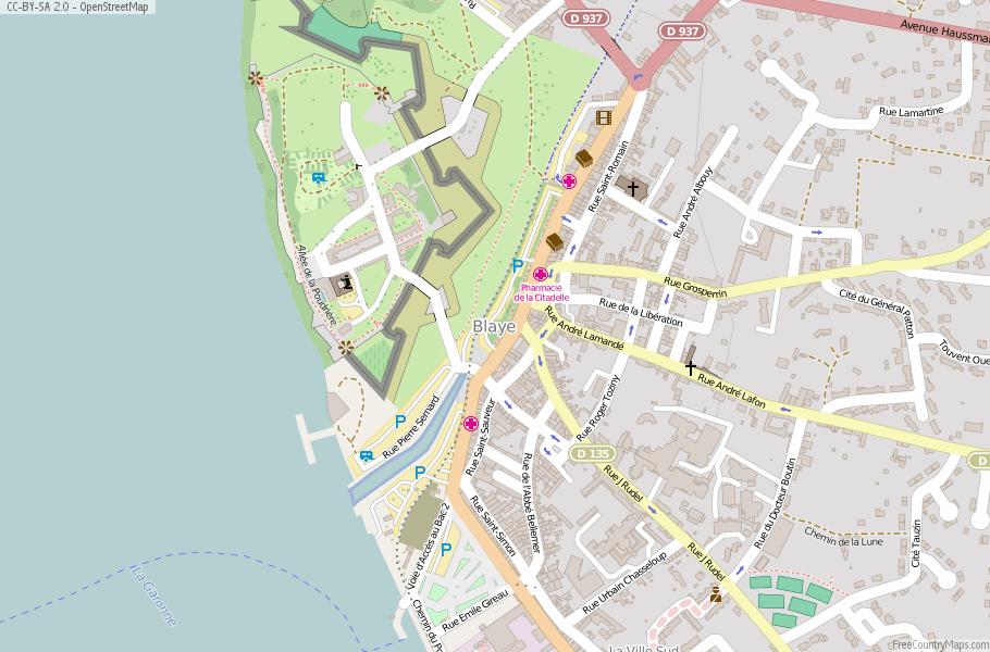 Blaye Map France Latitude Longitude Free Maps - Rue france map