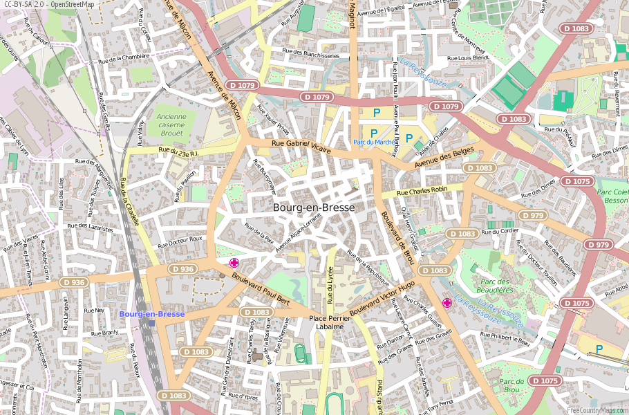 BourgenBresse Map France Latitude Longitude Free France Maps