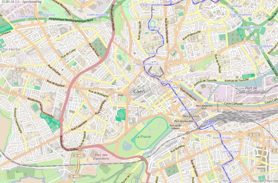 Caen Map France Latitude Longitude Free France Maps