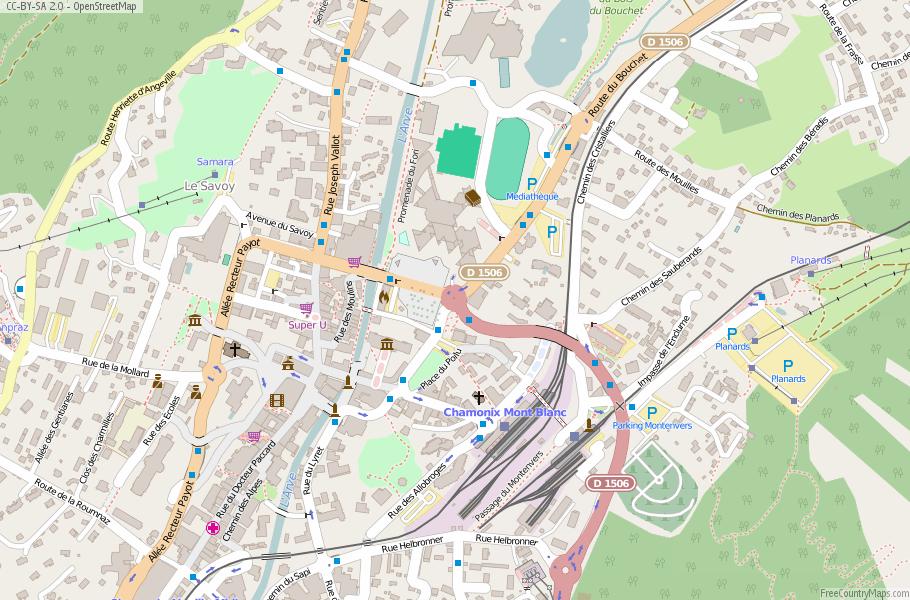 ChamonixMontBlanc Map France Latitude Longitude Free France Maps