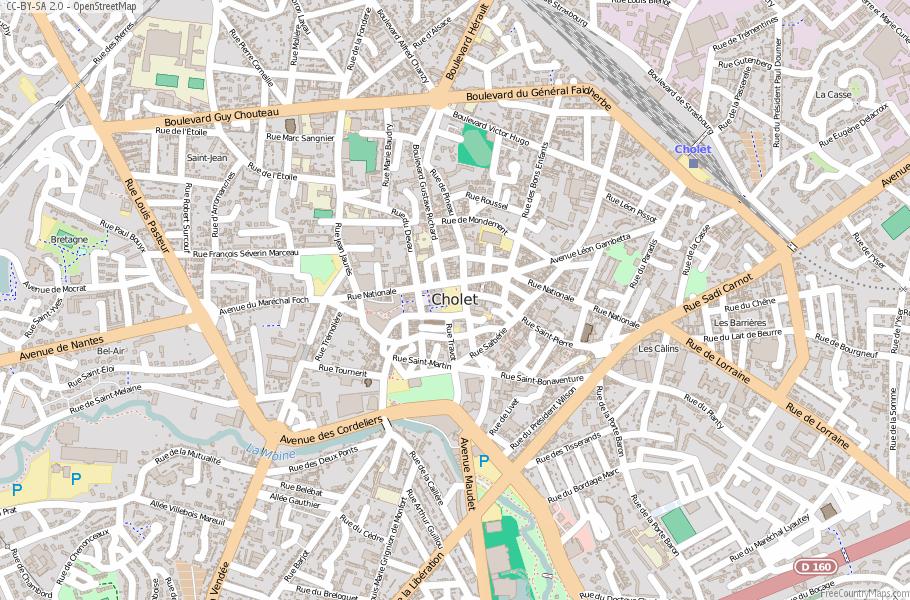 Cholet Map France Latitude Longitude Free France Maps