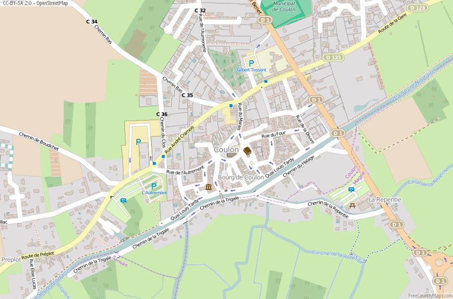 Coulon Map France Latitude & Longitude: Free Maps