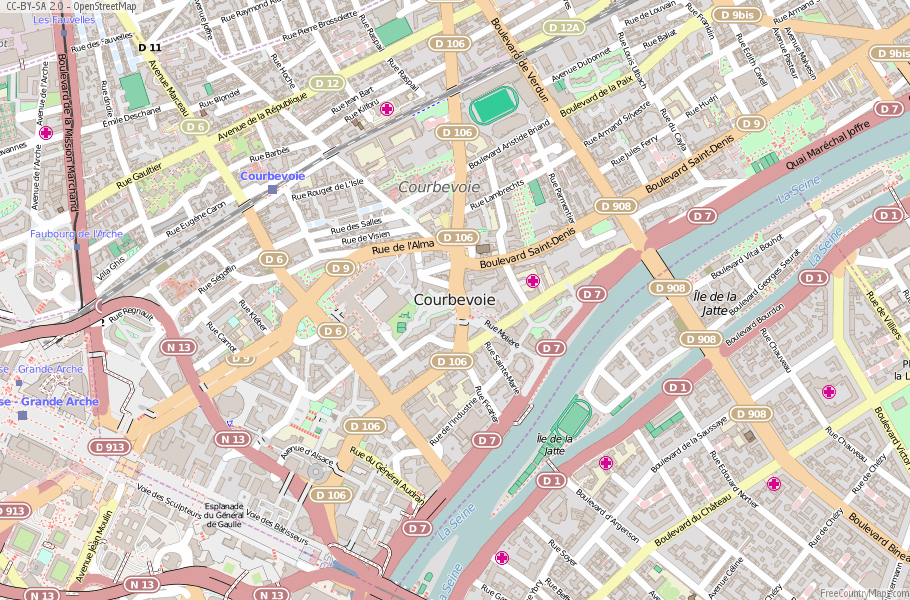 Courbevoie France Map