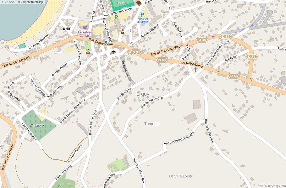 Erquy Map France Latitude Longitude Free Maps - Rue france map