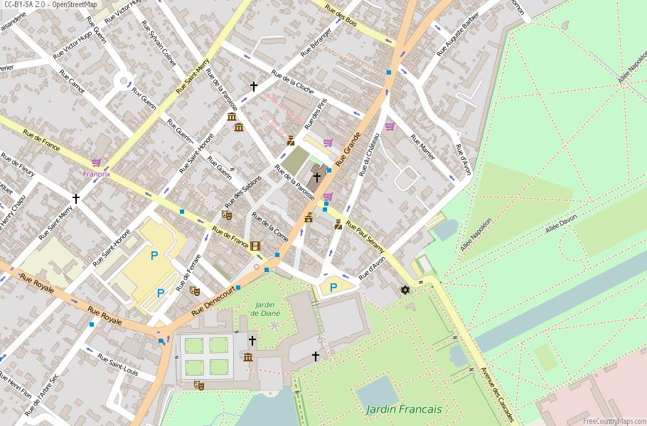 Fontainebleau Map France Latitude Longitude Free France Maps