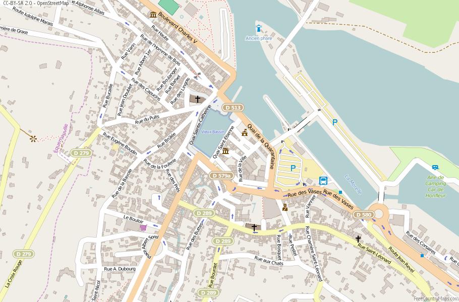 Honfleur Map France Latitude Longitude Free Maps