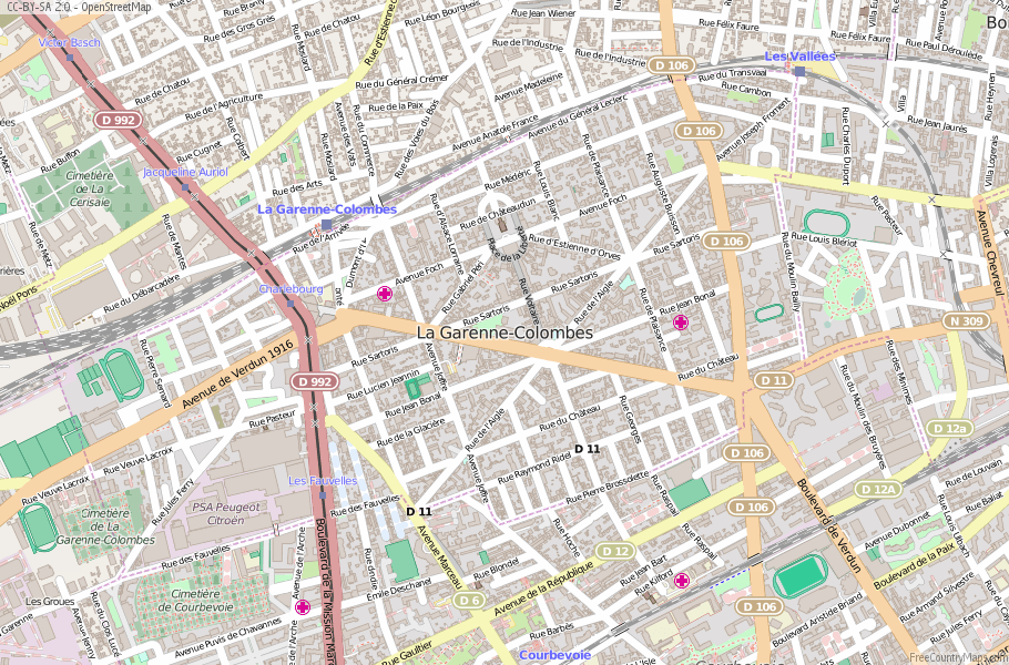 La GarenneColombes Map France Latitude Longitude Free France Maps
