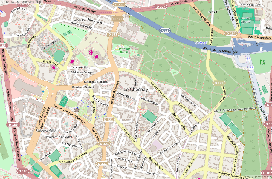 Le Chesnay France Map