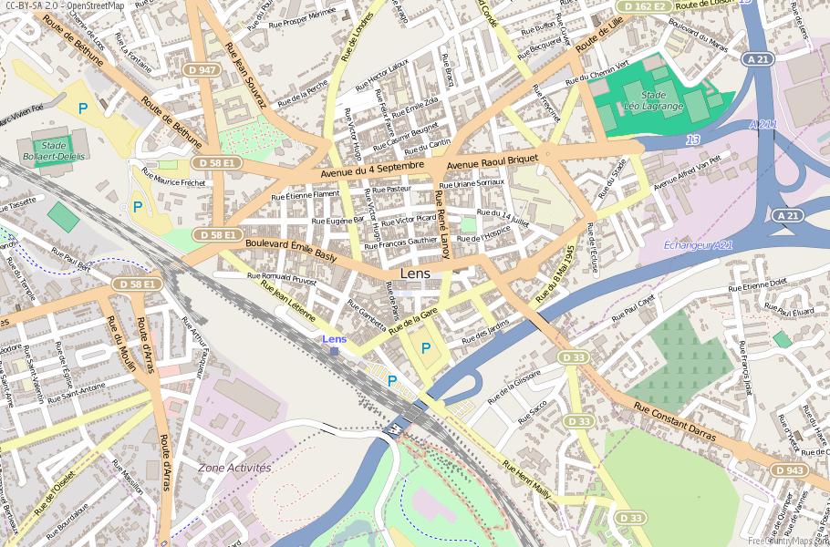 Lens Map France Latitude & Longitude: Free Maps
