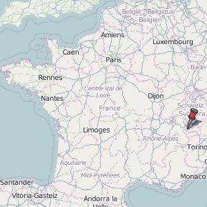 Mont Blanc France Map.Chamonix Mont Blanc Map France Latitude Longitude Free Maps