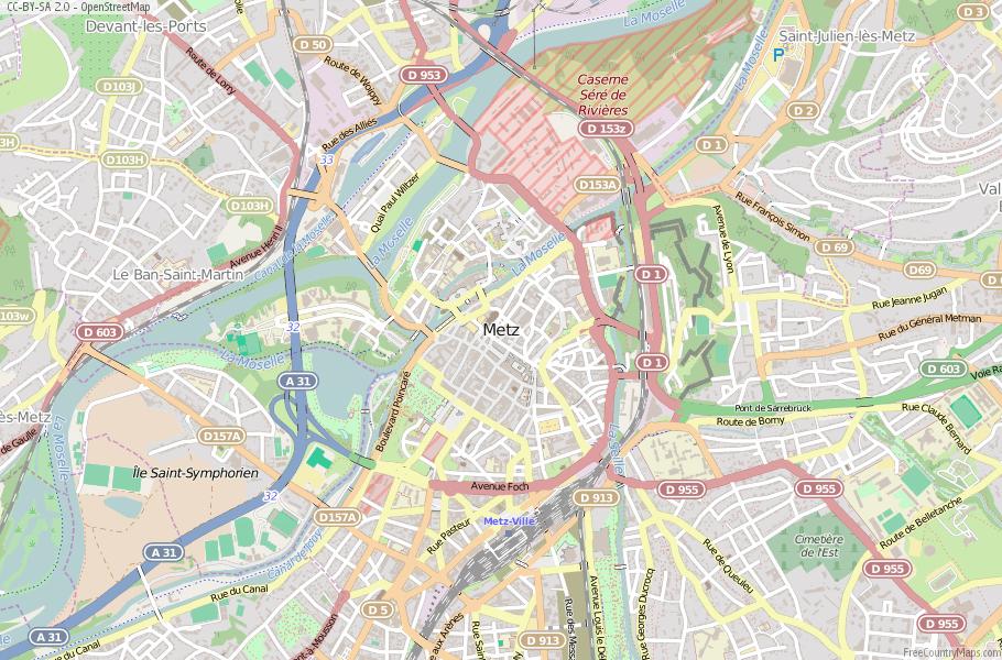 Metz Map France Latitude Longitude Free France Maps