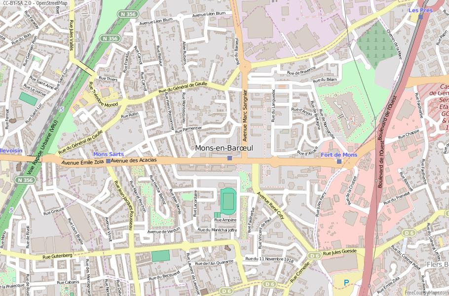 Mons-en-Barœul France Map