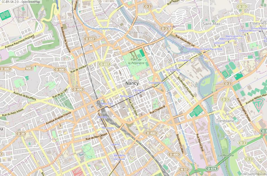 Nancy Map France Latitude Longitude Free France Maps