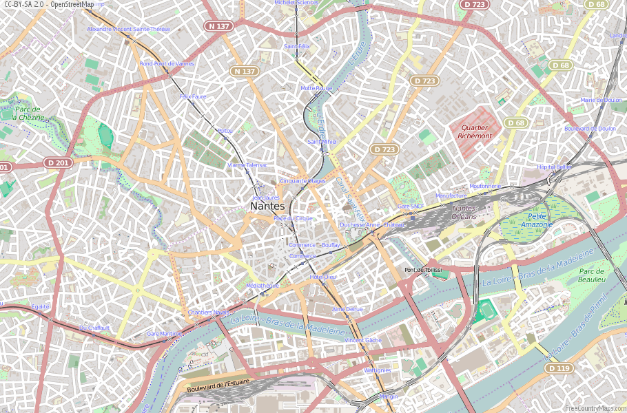 The Map Of France With The City.Nantes Map France Latitude Longitude Free Maps