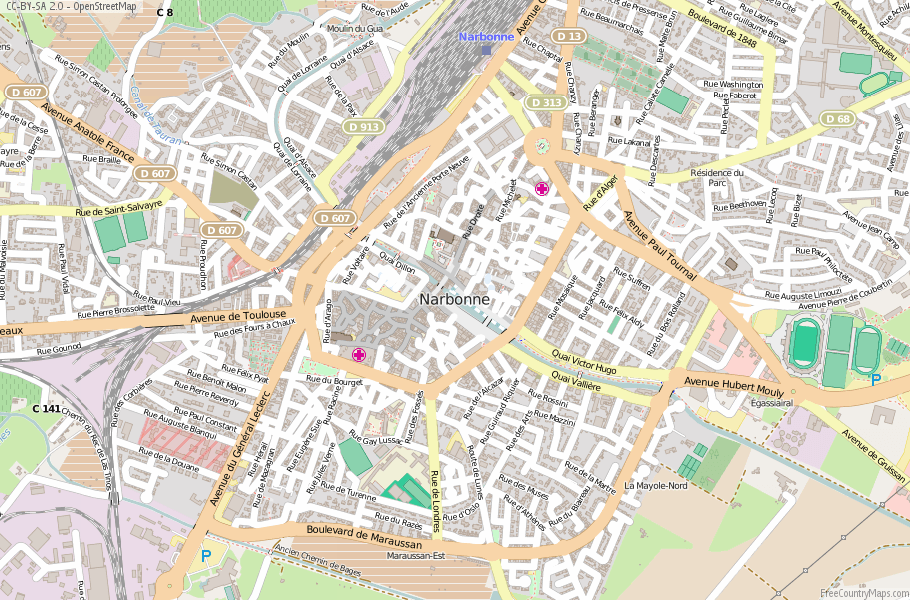 Narbonne France Map