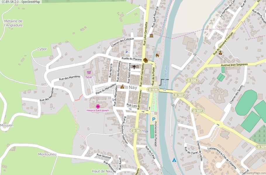 Nay Map France Latitude Longitude Free France Maps