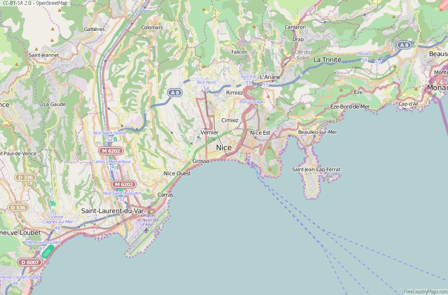 Nice Map France Latitude Longitude Free France Maps