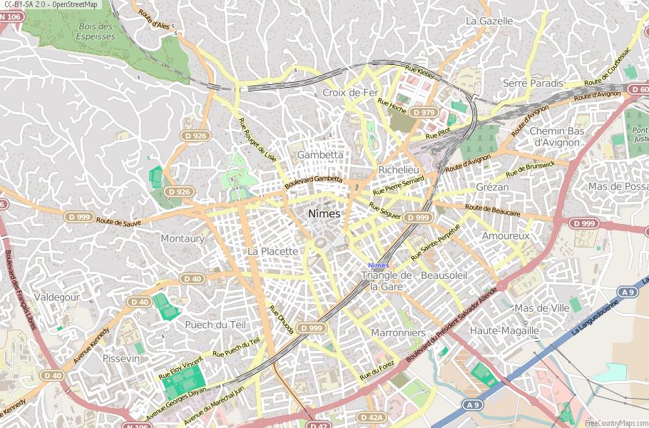 Nimes Map France Latitude Longitude Free Maps